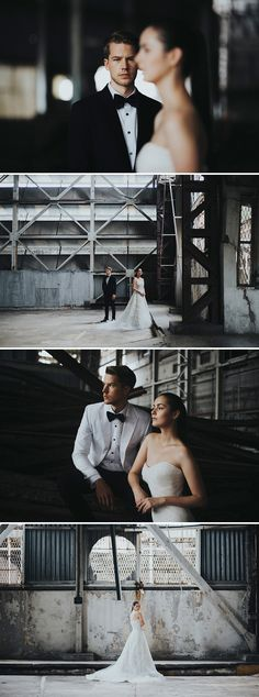 Beautiful poses against aged buildings for a more rustic feel // Gazetted for conservation, the former Kallang Airport was Singapore's first commercial international airport, touted as one of the most modern airports of its time. Its rich history was the perfect complement to the moody industrial vibes that the airport contributed to this styled shoot with AndroidsinBoots, The Proposal Bridal, Wong Hang Distinguished Tailor and The Make Up Room. {Facebook and Instagram: The Wedding Scoop}