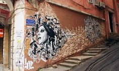 Halwani's work in in Gemmayze, depicting Fairouz, a Lebanese singer and cultural icon.