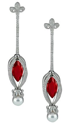 The Avakian Haute Joaillerie marquise ruby, diamond and pearl earrings worn by Dita Von Teese for her burlesque show in Cannes, which took place during the Cannes Film Festival 2013.