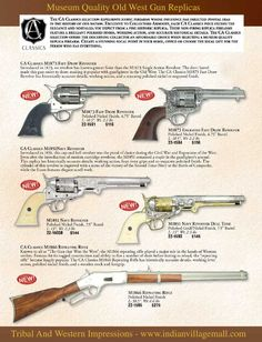 Old West Museum Quality Replica Pistols- From Tribal And Western Impressions- Review the collection off of: http://www.indianvillagemall.com/gunandmovieprops.html