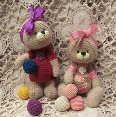 Crochet thread artist PATTERN teddy bear mini by RavensHillWay, $20.00