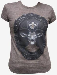 Amazon.com: Women's Dear Prudence Deer with Antlers and Flower by J Larkin Steampunk T Shirt Brown: Larkin: Clothing