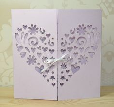 Heart Laser Cut Gatefold #Wedding Invitation