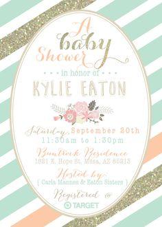 Menta melocotón y oro Baby Shower invitación por DubDubDesigns