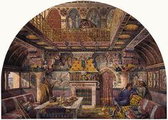 (średniowieczne inspiracje) Design for the Summer Smoking Room at Cardiff Castle William Burges