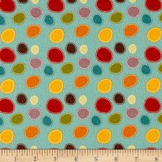 Riley Blake Giraffe Crossing 2 Flannel Dots Teal from @fabricdotcom  From the RBD Designers for Riley Blake, this single napped (brushed on face side) printed flannel collection is perfect for quilting, apparel, and home decor accents. Colors include teal, mauve, red, orange, yellow, and olive green.