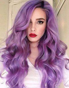 21 Lavender Hair Looks That Will Make You Grab Hair Dye Immediately Surprisingly pretty and versatile, this purple hue shouldn't be ruled out as a viable hair color option – Farbige Haare Love Hair, Gorgeous Hair, Lavender Hair, Coloured Hair, Dye My Hair, Mermaid Hair, Ombre Hair, Neon Hair, Pretty Hairstyles