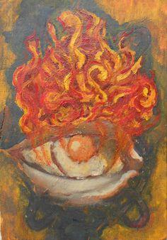 """Alejandro Vizcarra """"Ojo en llamas"""" .20cmx15cm aprox oleo/tabla."""