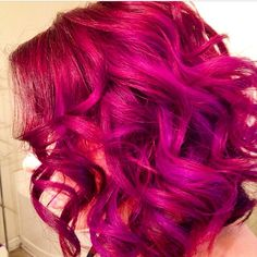 Pravana Vivids - pink hair, red hair, purple hilights, long inverted bob, lob hairstyle Hair by The Duchess of Glam