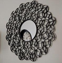moldura com tubo de papelão de rolo de papel higiênico ~ Artesanato Reciclado