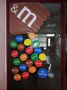 M themed classroom welcome window with students' names candy theme classroom, classroom welcome, Candy Theme Classroom, Classroom Welcome, Classroom Board, Classroom Decor Themes, Classroom Activities, Classroom Ideas, Classroom Displays, Candy Bulletin Boards, Church Bulletin Boards