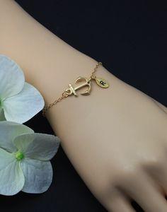 Personalized Sideways Anchor Bracelet   Custom by MenuetDesigns, $25.50