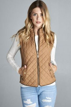 Camel quilted vest with suede piping! 100% polyester. Fits true to size!