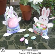 Easter Bunny treat holders - Printables for making your own Table Top Place Markers for Easter Dinner - Do it yourself, hand made or homemade Easter treats for kids.  Gina Jane Designs - DAISIE Company