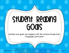 Ontario Student Reading Goals Posters- Junior Level