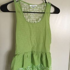 """New item...cute summer dress with lace ..Sz small Lime green summer dress with lace... Size is small .... 100% polyester ...dress length is 24""""...new item never worn Right in two Dresses"""
