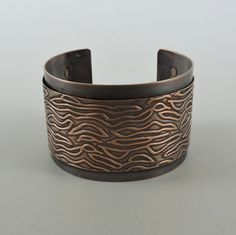 Antiqued Copper Cuff, Copper Bracelet 6 by 1 1/2 inches Wide Cuff with Patterned Overlay by HCJewelrybyRose on Etsy