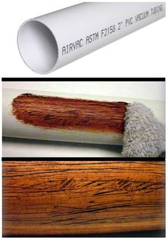 Making PVC Look Like Wood I came up with this simple trick to give PVC pipe a realistic wood texture when I built a few plastic didgeridoos a couple of years ago. It would also work for theater home decor or backyard tiki-bars! This is a simple and cheap Pvc Pipe Projects, Diy Projects To Try, Wood Projects, Woodworking Projects, Fine Woodworking, Pvc Pipe Crafts, Project Ideas, Styrofoam Crafts, Handyman Projects