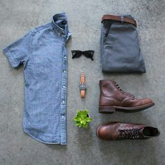 Outfit grid - Denim shirt & dress boots
