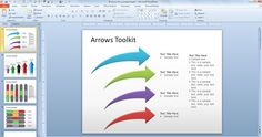 free ARROW powerpoint ppt toolkit download: to reverse the arrow: click on the FORMAT menu tab; click on the ROTATE icon up on the right side - click FLIP VERTICAL or FLIP HORIZONTAL depending upon how you want your arrow to face. Took me at least an hour to figure this out!