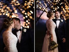 bride and groom at sunset and fairy lights in trees at Tithe barn Petersfield by jenny owens photography