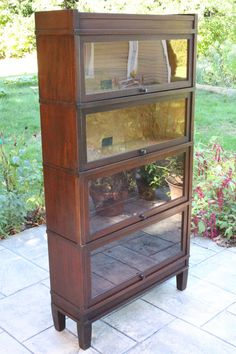 Antique Globe Wernicke 4 Stack Glass Front Sectional Barrister Bookcase Painting Wooden Furniture Antique Bookcase Cool Furniture