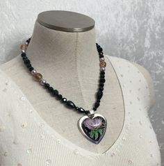 Black faceted glass chunky beaded necklace by VelvetCurtainDesigns
