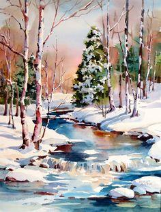 Watercolor Landscape Paintings, Watercolor Trees, Landscape Drawings, Watercolor Artists, Landscape Art, Floral Watercolor, Landscapes, Winter Christmas Scenes, Winter Scenes