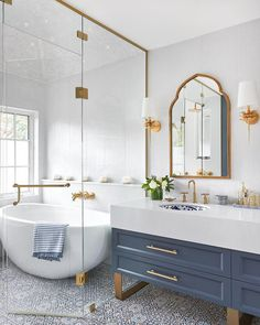 A Master Bathroom fit for a Duchess! A Master Bathroom fit for a Duchess! Dream Bathrooms, Beautiful Bathrooms, Modern Bathroom, Small Bathroom, Master Bathroom, Bathroom Ideas, Gold Bathroom, White Bathrooms, Bathroom Images