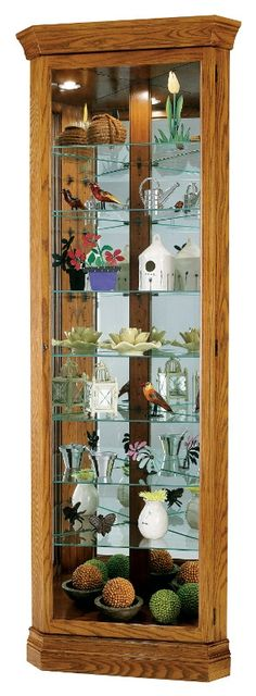 Dominic Corner Curio Cabinet in Legacy Oak Finish