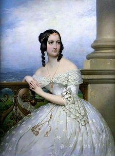 Portrait presumed to be  Miss White1838  By Joseph Court - (Rouen 1796-Paris1865...