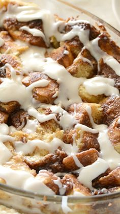"Cinnamon Bun Bread Pudding Recipe ""Gooey Cinnamon Swirl, Custardy Bread Pudding, and Rich Frosting. It's the Stuff Cinnamon Dreams are Made of."""