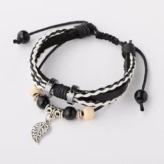 Leather Crod Shambhala Bracelet with yed Wood Beads and Alloy Leaf Pendants from Pandahall.com. Best gift for your boyfriend, so cool!