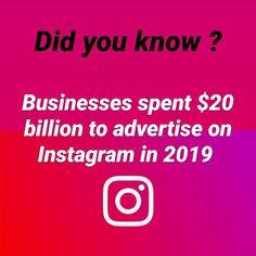 Last year businesses spent $20 billion to advertise on Instagram. That's $5.1 billion more than you tube earned in 2019. Tube, Advertising, Social Media, Business, Instagram, Store, Social Networks, Business Illustration, Social Media Tips