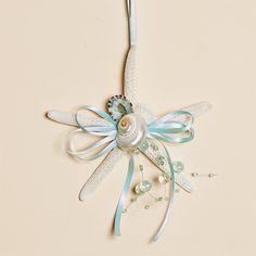 Set of Three - 4 Inch Natural Finger Starfish Ornaments with White & Aqua Shells, Aqua Beads and an Aqua Bow