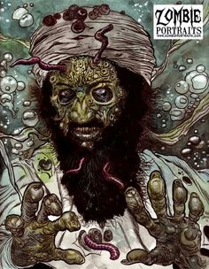 This is a haunting zombie portrait of Osama Bin Laden in his final resting place by Rob Sacchetto!