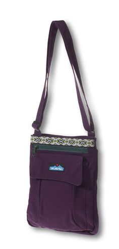 "KAVU Keeper-Purple Velvet-Adjustable shoulder strap, snap closure, four individual compartments and internal organizational pockets. Fabric: Cotton. Dimensions: 9"" x 11""."