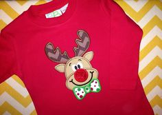 Reindeer Shirts - Red Christmas Shirts - Rudolph Shirt, $26.00