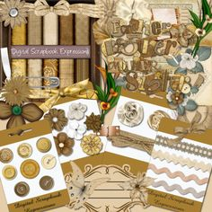 Heritage Mega Kit [CF-0027] - $3.00 : ColleneLand Scraps.  This is a great kit for ancestry or genealogy scrapping.  This digital scrapbook kit includes, word art, ribbons, buttons, flowers, bows, papers, and so much more