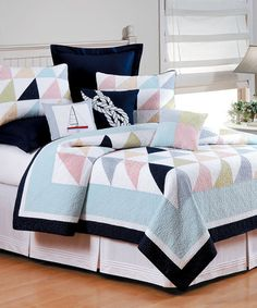 Look at this #zulilyfind! Red Stripe & Blue Gingham Quilt #zulilyfinds
