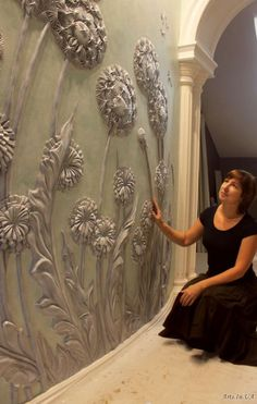 Discover thousands of images about Creating the Beauty of Bas-Relief Plaster Crafts, Plaster Art, Plaster Walls, Ceiling Design, Wall Design, Wall Sculptures, Sculpture Art, Bordados Tambour, Decoration Originale
