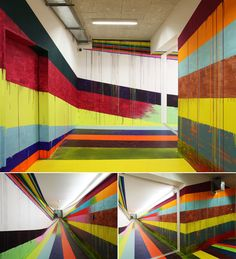Colorful wall ribbons by Markus Linnenbrink - #installations
