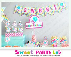 CandyLand Party Printable - Candy Shoppe Party / Instant Download D007 - MariaPalito Shop