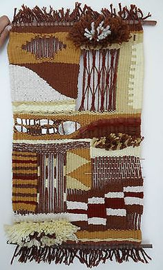Vintage-Hand-Made-Woven-Yarn-Textile-Folk-Art-Tapestry-Weave-Craft-Wall-Decor