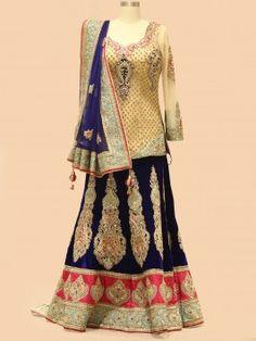 Royal Blue And Cream Net Velvet Lehenga Choli With Handwork