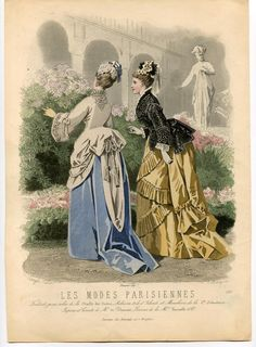 Fashion Plate,circa 1872-1873 - A beautiful hand-colored engraving from Les Modes Parisiennes, no. In 1597. Two fashionably dressed women in a garden in the background, a gallery and a sculpture of a lady ongeklede with drapery. By positioning the ladies, the phenomenon tournure fashion, with the accent of the dress part to the pronounced rear comes to rest on this picture very well visible.  Artists: Comte Calix, E. Bracquet