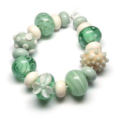 Beads By Laura: Lampwork glass 'Magnolia' beads by Laura Sparling