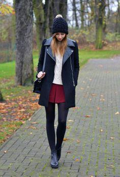 Fashion Women's: Fall + Winter Outfit Style (Black Leather Jacket, White Sweater, Red Pleated Mini Skirt, Black Tights, Black Leather Booties, Black Leather Messenger Bag Purse, Black Pom Beanie) | #Fashion #WomensFashion