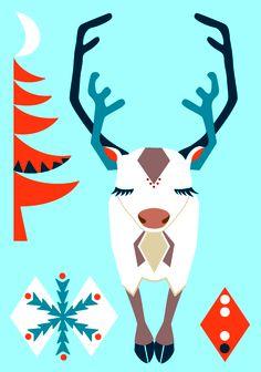 Folklore reindeer postcard illustration #reindeer #finland #teresebast #lapland