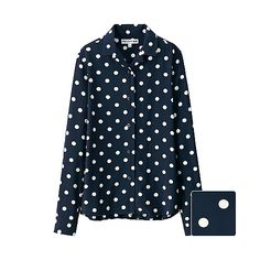 This stylish blouse from the Ines de la Fressange collaboration collection features smooth rayon material and an elegant, flowing cut. The fun, pop polka dot design in bold colors adds a fashionable outfit accent.